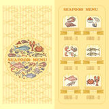 Seafood Menu card. Set of cute various seafood  icons. Seafood Menu card. Set of cute various seafood  icons on yellow background Royalty Free Stock Image