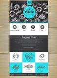 Seafood menu concept Web site design. Stock Photos