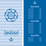 Seafood menu design Stock Image