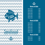 Seafood menu design Stock Photos