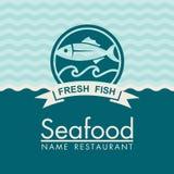 Seafood menu design. On a blue background, vector illustration Royalty Free Stock Images