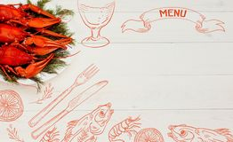 Seafood menu design, centre spread. Hand drawn illustration, lemon, shrimps, fork and knife, dried fish, glass of beer. Stock Images