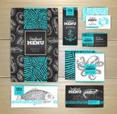 Seafood menu design. Corporate identity. Stock Photos