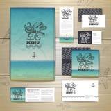 Seafood menu design. Corporate identity Stock Photos