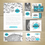Seafood menu design. Corporate identity Stock Photography