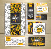 Seafood menu design. Corporate identity Stock Images