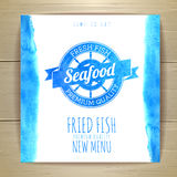 Seafood menu design with fish. Document template Royalty Free Stock Photos