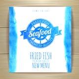 Seafood menu design with fish. Royalty Free Stock Photos