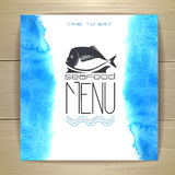 Seafood menu design with fish royalty free illustration