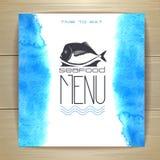 Seafood menu design with fish Stock Photo