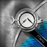 Seafood - Menu Design. Metallic brushed background with porthole and metal fish with blue waves, empty white plate and cutlery, diagonal black band with text Stock Images