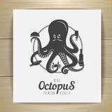 Seafood menu design. Octopus. Royalty Free Stock Photos