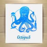 Seafood menu design. Octopus. Royalty Free Stock Images