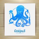 Seafood menu design. Octopus. Royalty Free Stock Images
