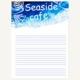 Seafood menu design template. Vector sea watercolor background. Stock Image