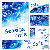 Seafood menu design template. Vector sea watercolor background. Royalty Free Stock Photos