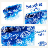 Seafood menu design template. Vector sea watercolor background. Stock Photography