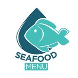 Seafood menu emblem with fish and drop illustration. Seafood restaurant menu flat minimalistic emblem. Cartoon blue fish that almost covers shiny navy drop Royalty Free Stock Photography