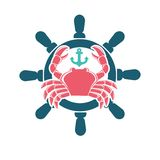 Seafood menu emblem with red crab and steering wheel. Seafood menu colorful minimalistic emblem. Big red crab with glossy shell and claws, small turquoise anchor Stock Photos