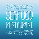 Seafood menu Fish And Grill Label/Badge. Seafood restaurant menu Fish And Grill Label/Badge. For sea food signage, prints and stamps Royalty Free Stock Photo
