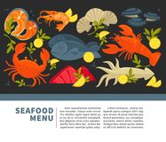 Seafood restaurant menu of fresh vector fish. Seafood menu of fresh fish for sea food restaurant or fisher market and chef cooking recipe. Vector flat design of Royalty Free Stock Photography