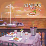 Seafood menu graphic illustration with served restaurant table Royalty Free Stock Images