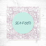 Seafood menu with hand drawn underwater pattern Stock Photos