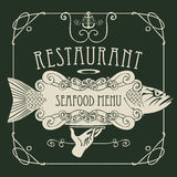 Seafood menu with hand, tray, fish, anchor, rope. Vector restaurant menu of seafood with a picture of a hand with a tray on which is a big fish and anchor in a Stock Photography
