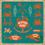 Seafood menu labels set Stock Images