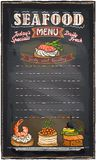 Seafood menu list blackboard chalk. Stock Photography