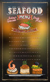 Seafood menu list with copy space for text, assorted fish canapes Royalty Free Stock Images