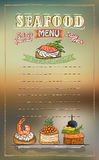 Seafood menu list vector illustration with fish canapes Royalty Free Stock Photography