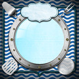 Seafood Menu with Metal Porthole. Blue and white abstract background with stylized waves, metal porthole, kitchen utensils and empty label, template for recipes Stock Photography