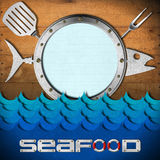 Seafood Menu with Metal Porthole. Restaurant seafood menu with metal porthole, kitchen utensils on wooden wall and stylized waves Royalty Free Stock Photography