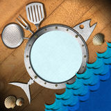 Seafood Menu with Metal Porthole. Restaurant seafood menu with metal porthole, kitchen utensils on wooden wall and stylized waves Stock Photography