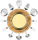 Seafood Menu with Metal Porthole. Round wooden cutting board with empty metal porthole and kitchen utensils isolated on white. Template for recipes or seafood Stock Photography