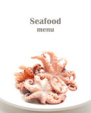 Seafood menu with octopus Stock Photos