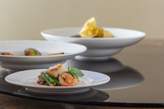 Seafood menu on plate Royalty Free Stock Photography