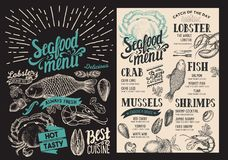 Seafood menu for restaurant on blackboard background. Vector foo. D flyer for bar and cafe. Design template with vintage hand-drawn illustrations Royalty Free Stock Image