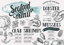 Seafood menu restaurant. Seafood menu for restaurant and cafe. Design template with hand-drawn graphic elements in doodle style Royalty Free Stock Photos