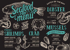 Seafood menu restaurant. Seafood menu for restaurant and cafe. Design template with hand-drawn graphic elements in doodle style Stock Images