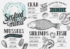Seafood menu restaurant. Stock Images