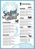 Seafood menu restaurant. Royalty Free Stock Photos