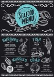 Seafood menu restaurant, food template. Seafood menu for restaurant and cafe. Design template with hand-drawn graphic illustrations Royalty Free Stock Photo