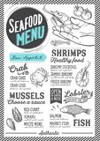 Seafood menu restaurant, food template. Seafood menu for restaurant and cafe. Design template with hand-drawn graphic illustrations Stock Images