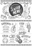 Seafood menu restaurant, food template. Seafood menu for restaurant and cafe. Design template with hand-drawn graphic illustrations Stock Photos