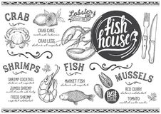 Seafood menu restaurant, food template. Seafood menu for restaurant and cafe. Design template with hand-drawn graphic illustrations Royalty Free Stock Image