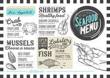 Seafood menu restaurant, food template. Seafood menu for restaurant and cafe. Design template with hand-drawn graphic illustrations Stock Photography
