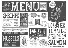 Seafood menu restaurant, food template. Seafood menu for restaurant and cafe. Design template with hand-drawn graphic illustrations Stock Photo