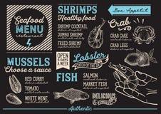 Seafood menu restaurant, food template. Seafood menu for restaurant and cafe. Design template with hand-drawn graphic illustrations Stock Image